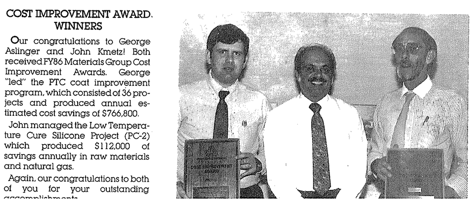 Clipping from an internal newsletter announcing the Cost Improvement Award Winners, 1986